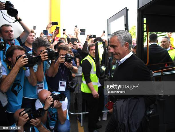 Jose Mourinho Manager of Manchester United arrives ahead of the Premier League match between Watford FC and Manchester United at Vicarage Road on...
