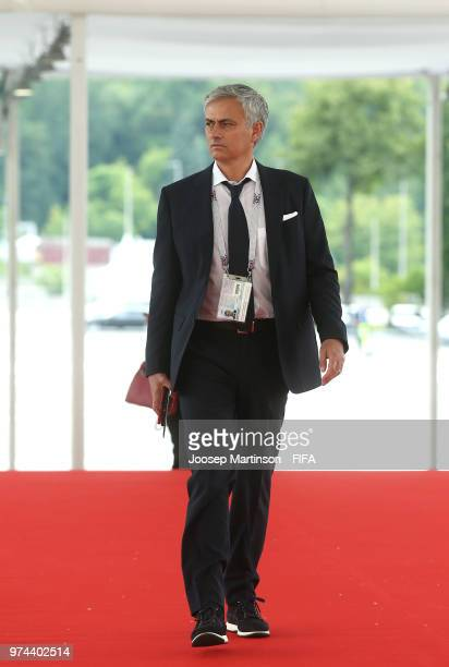 Jose Mourinho manager of Manchester United arrives at the stadium as he attends the 2018 FIFA World Cup Russia group A match between Russia and Saudi...