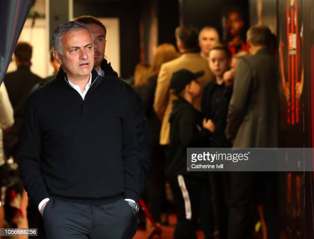 Jose Mourinho Manager of Manchester United arrives during the Premier League match between AFC Bournemouth and Manchester United at Vitality Stadium...