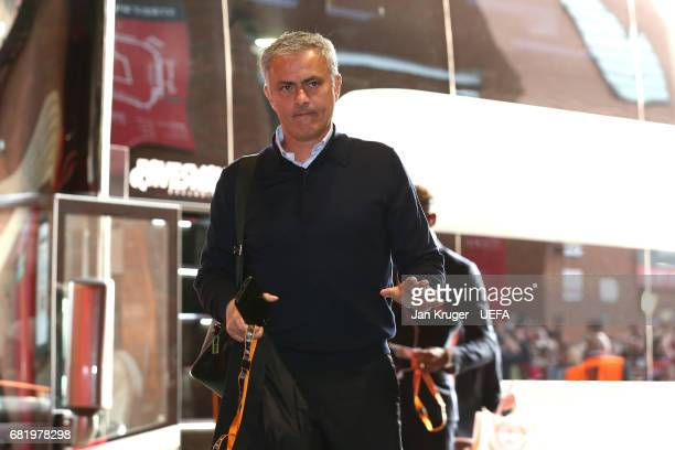 Jose Mourinho Manager of Manchester United arrives prior to the UEFA Europa League semi final second leg match between Manchester United and Celta...