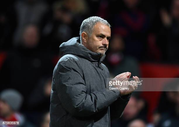 Jose Mourinho Manager of Manchester United celebrates after the Premier League match between Manchester United and Newcastle United at Old Trafford...