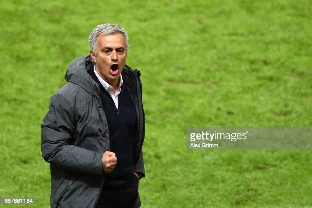 Jose Mourinho Manager of Manchester United celebrates after the UEFA Europa League Final between Ajax and Manchester United at Friends Arena on May...
