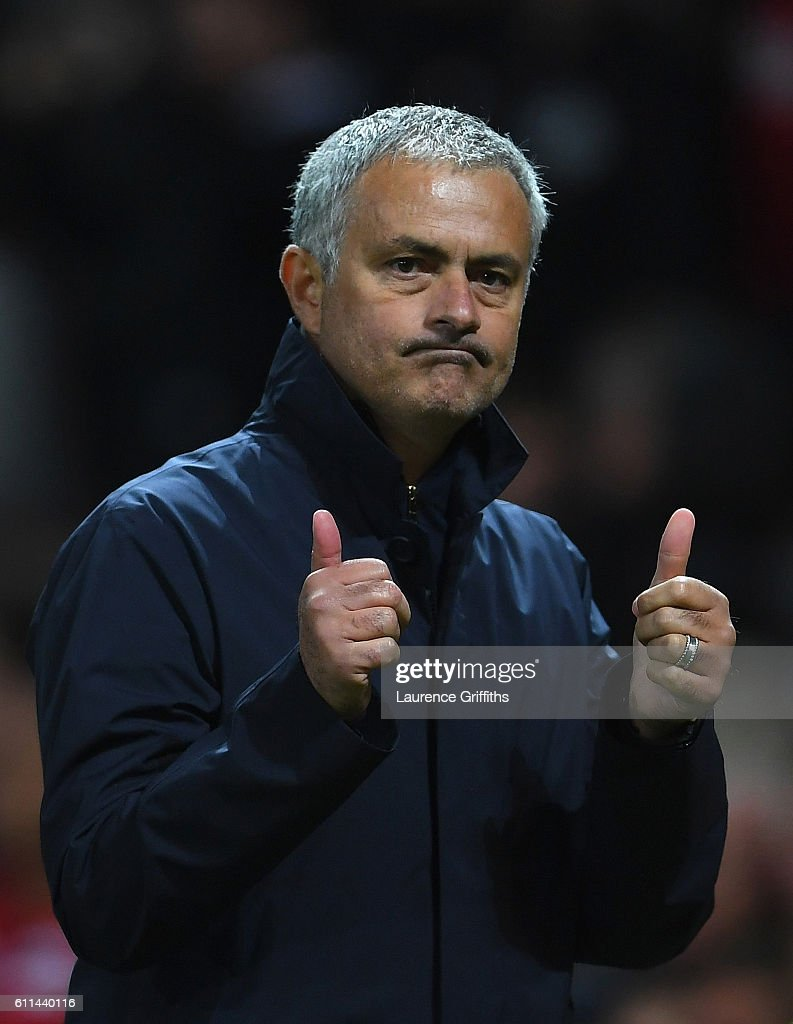 Jose Mourinho, Manager of Manchester United celebrates following his sides 1-0 victory during the UEFA Europa League group A match between Manchester United FC and FC Zorya Luhansk at Old Trafford on September 29, 2016 in Manchester, England.
