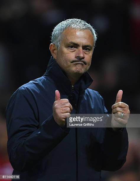Jose Mourinho Manager of Manchester United celebrates following his sides 10 victory during the UEFA Europa League group A match between Manchester...
