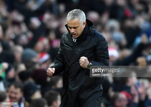 Jose Mourinho Manager of Manchester United celebrates his sides second goal during the Premier League match between Manchester United and Fulham FC...