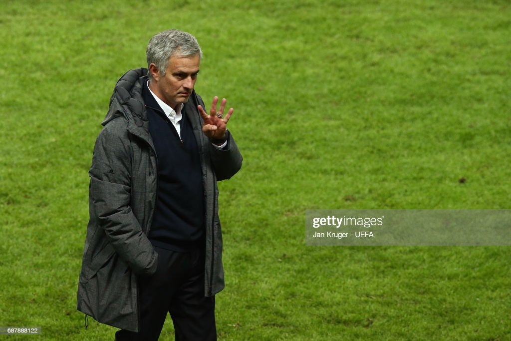 Jose Mourinho, Manager of Manchester United celebrates victory after the UEFA Europa League Final between Ajax and Manchester United at Friends Arena on May 24, 2017 in Stockholm, Sweden.