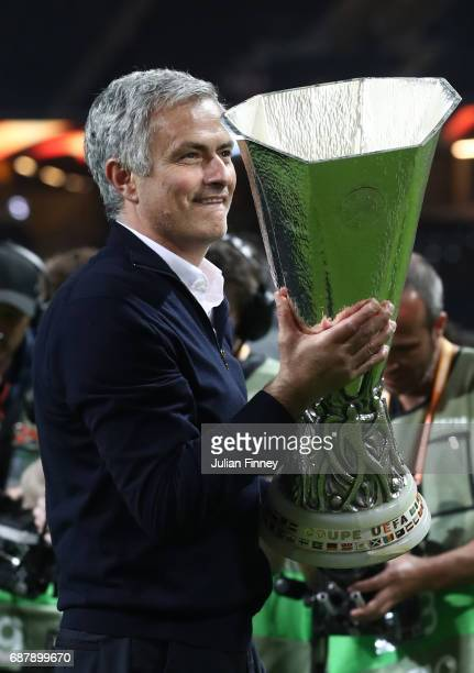 Jose Mourinho Manager of Manchester United celebrates with The Europa League trophy after the UEFA Europa League Final between Ajax and Manchester...