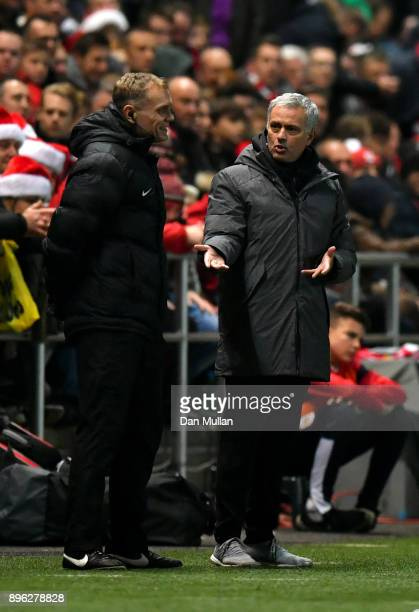 Jose Mourinho Manager of Manchester United confronts the 4th official during the Carabao Cup QuarterFinal match between Bristol City and Manchester...