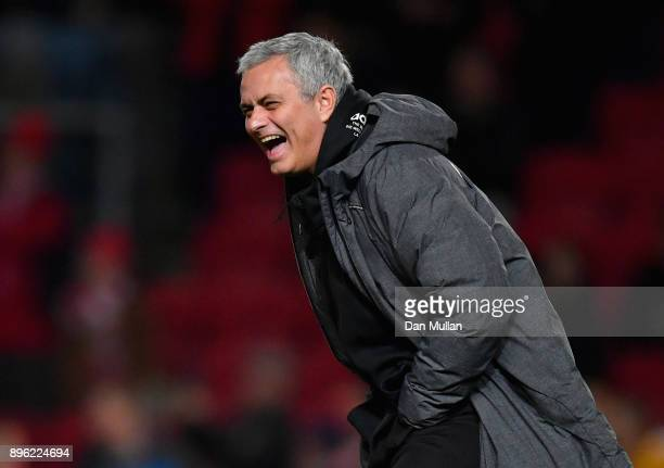Jose Mourinho Manager of Manchester United enjoys the pre match atmosphere prior to the Carabao Cup QuarterFinal match between Bristol City and...
