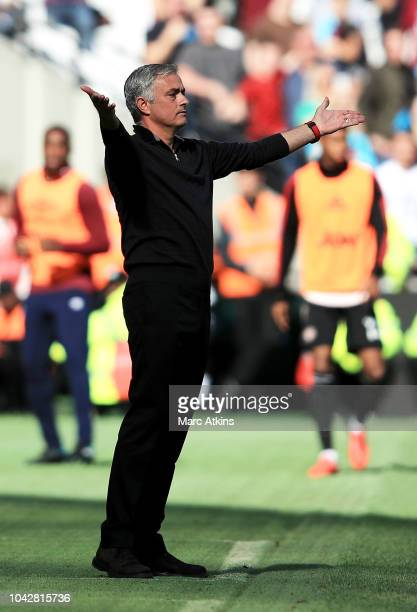 Jose Mourinho Manager of Manchester United gestures during the Premier League match between West Ham United and Manchester United at London Stadium...