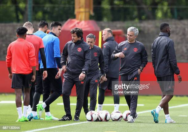 Jose Mourinho Manager of Manchester United gives his team instructions during a Manchester United training session ahead of the UEFA Europa League...