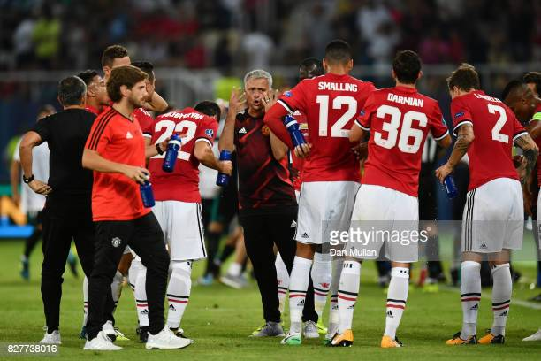 Jose Mourinho Manager of Manchester United gives his team instructions during a water break during the UEFA Super Cup final between Real Madrid and...