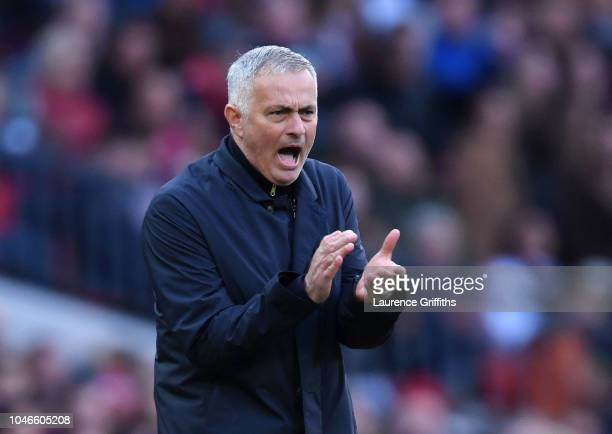 Jose Mourinho Manager of Manchester United gives his team instructions during the Premier League match between Manchester United and Newcastle United...