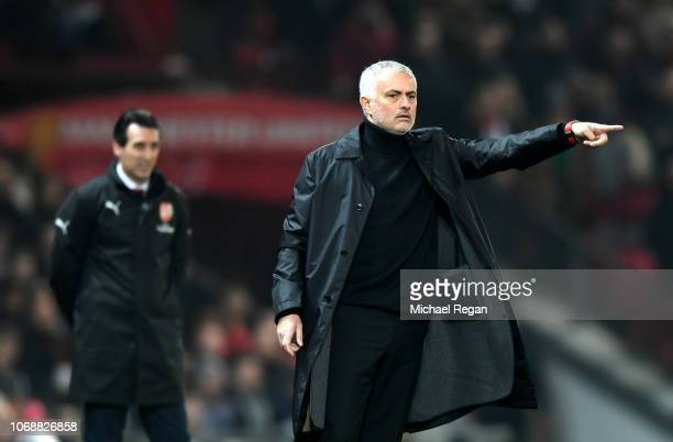 Jose Mourinho Manager of Manchester United gives his team instructions during the Premier League match between Manchester United and Arsenal FC at...
