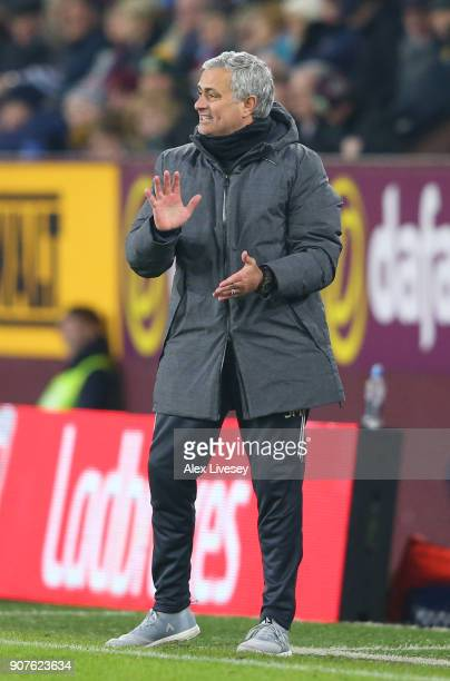 Jose Mourinho Manager of Manchester United gives his team instructions during the Premier League match between Burnley and Manchester United at Turf...