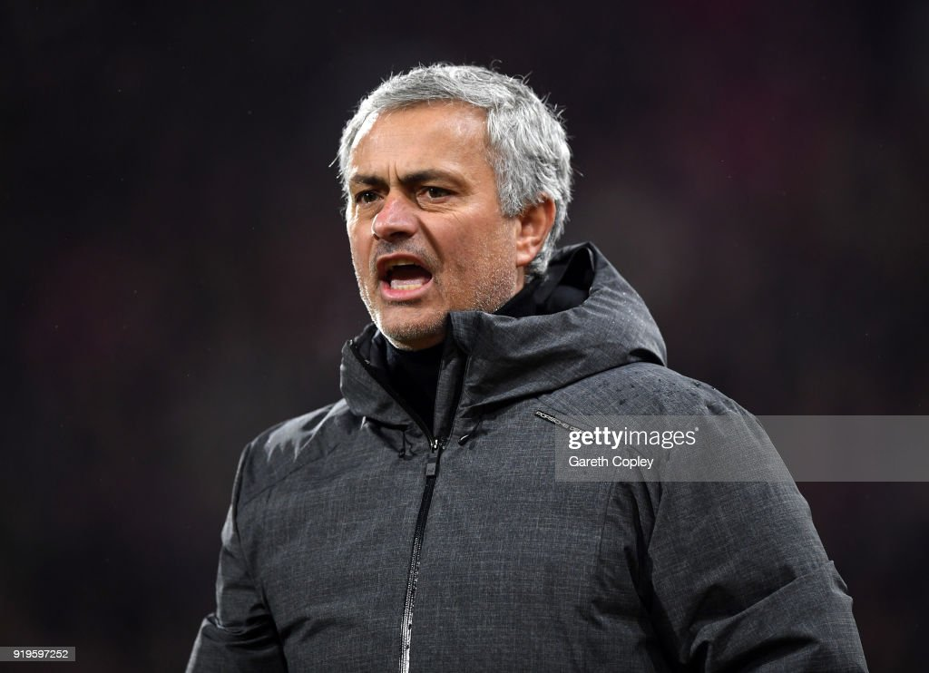 Jose Mourinho, Manager of Manchester United gives his team instructions during the The Emirates FA Cup Fifth Round between Huddersfield Town v Manchester United on February 17, 2018 in Huddersfield, United Kingdom.