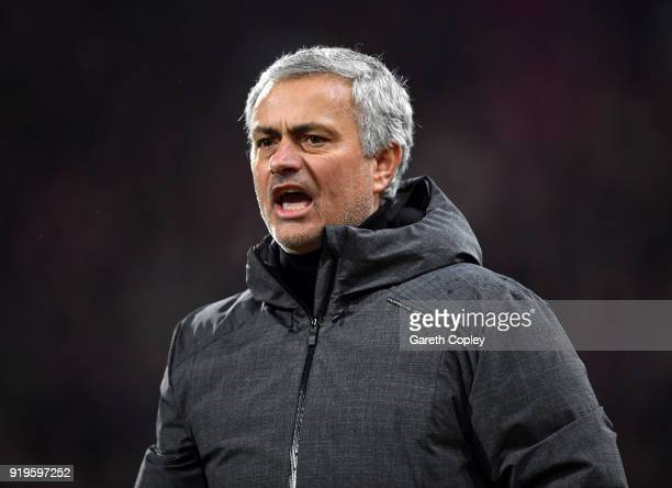 Jose Mourinho Manager of Manchester United gives his team instructions during the The Emirates FA Cup Fifth Round between Huddersfield Town v...