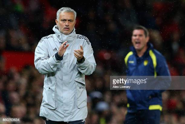 Jose Mourinho Manager of Manchester United gives instruction during the Carabao Cup Third Round match between Manchester United and Burton Albion at...