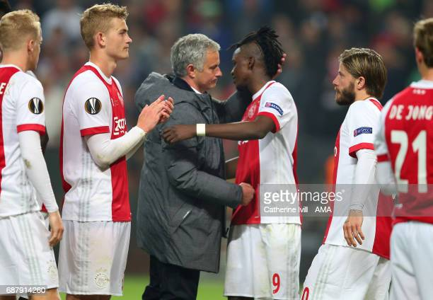 Jose Mourinho Manager of Manchester United hugs Bertrand Traore of Ajax during the UEFA Europa League Final match between Ajax and Manchester United...