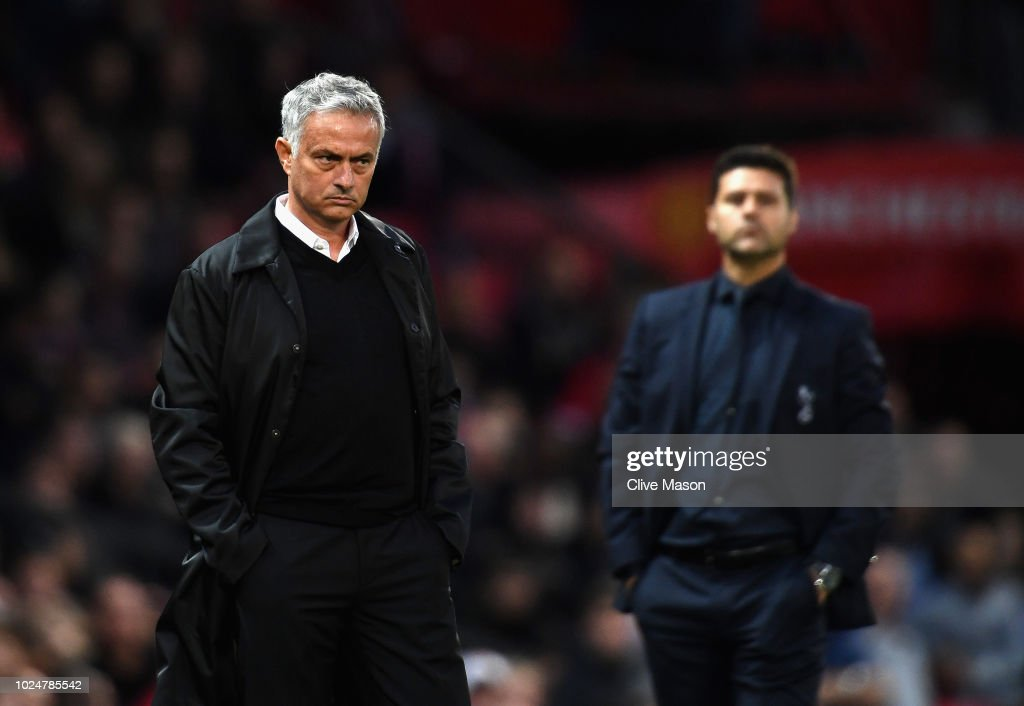Jose Mourinho, manager of Manchester United in action during the Premier League match between Manchester United and Tottenham Hotspur at Old Trafford on August 27, 2018 in Manchester, United Kingdom.