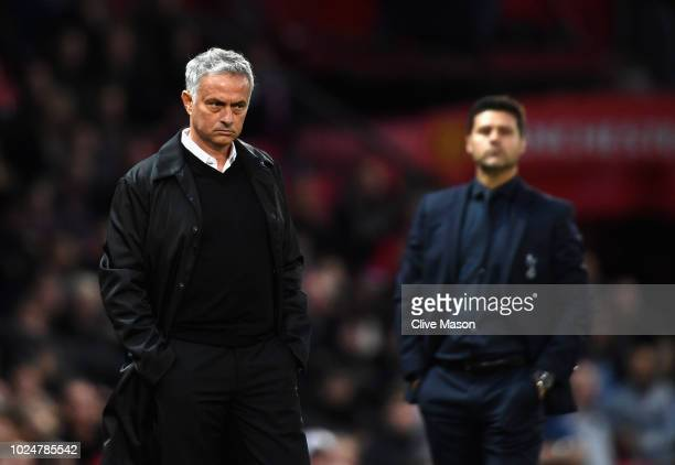 Jose Mourinho manager of Manchester United in action during the Premier League match between Manchester United and Tottenham Hotspur at Old Trafford...