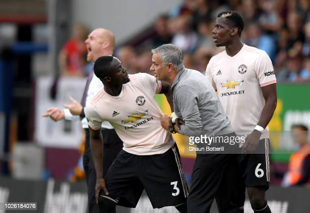 Jose Mourinho Manager of Manchester United in discussion with Eric Bailly of Manchester United during the Premier League match between Burnley FC and...
