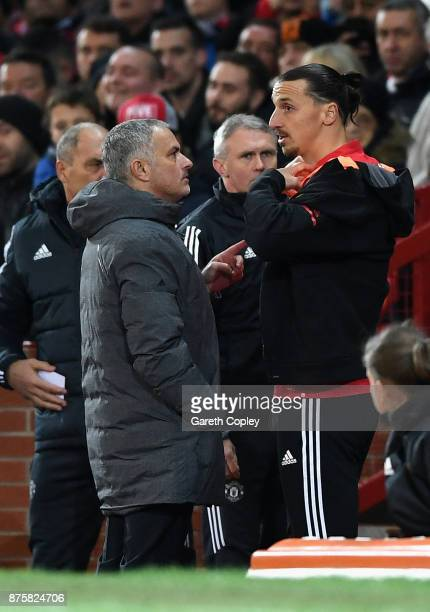 Jose Mourinho Manager of Manchester United instructs Zlatan Ibrahimovic of Manchester United before being substituted during the Premier League match...