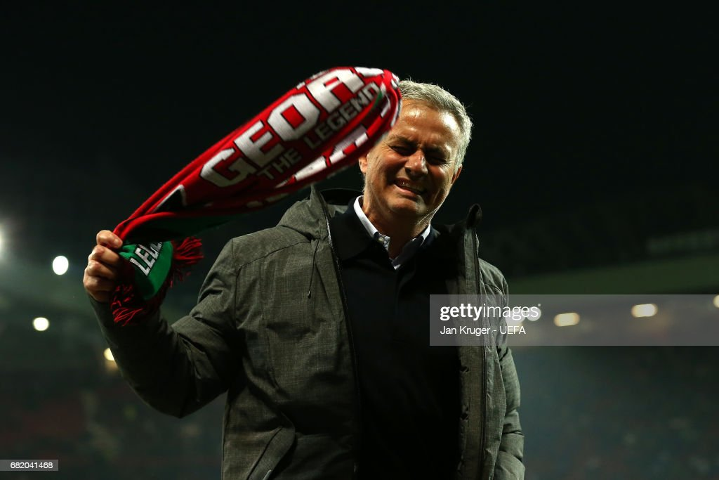 Jose Mourinho, Manager of Manchester United interacts with supporters following the UEFA Europa League, semi final second leg match, between Manchester United and Celta Vigo at Old Trafford on May 11, 2017 in Manchester, United Kingdom.