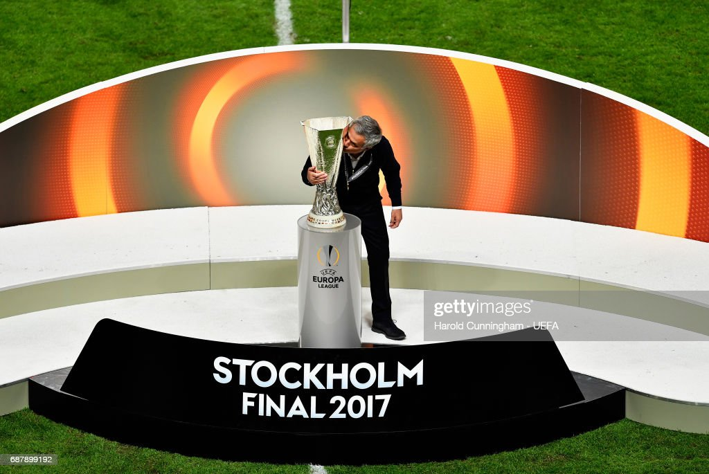 Jose Mourinho, Manager of Manchester United kisses the trophy following victory in the UEFA Europa League Final between Ajax and Manchester United at Friends Arena on May 24, 2017 in Stockholm, Sweden.
