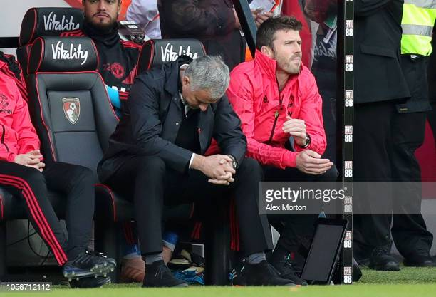 Jose Mourinho Manager of Manchester United looks dejected during the Premier League match between AFC Bournemouth and Manchester United at Vitality...