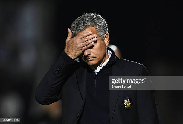 Jose Mourinho Manager of Manchester United looks dejected during the EFL Cup Third Round match between Northampton Town and Manchester United at...