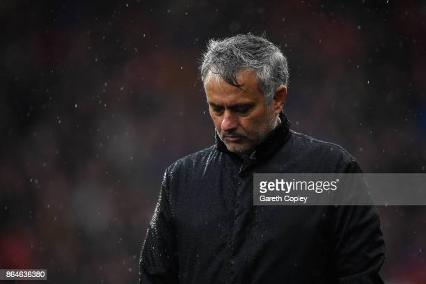 Jose Mourinho Manager of Manchester United looks dejected during the Premier League match between Huddersfield Town and Manchester United at John...