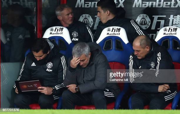 Jose Mourinho Manager of Manchester United looks dejected during the Premier League match between Crystal Palace and Manchester United at Selhurst...