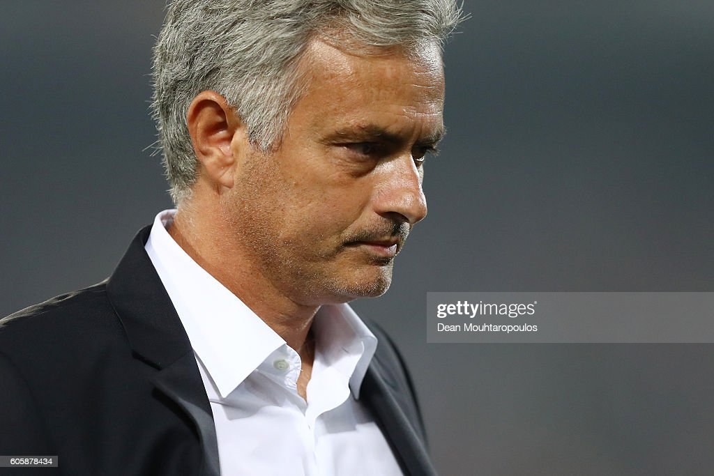 Jose Mourinho, Manager of Manchester United looks dejected following his teams defeat in the UEFA Europa League Group A match between Feyenoord and Manchester United FC at Feijenoord Stadion on September 15, 2016 in Rotterdam, .
