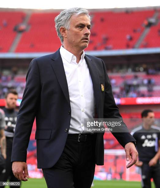 Jose Mourinho Manager of Manchester United looks dejected following The Emirates FA Cup Final between Chelsea and Manchester United at Wembley...