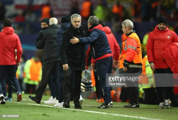 Jose Mourinho Manager of Manchester United looks dejected in defeat after the UEFA Champions League Round of 16 Second Leg match between Manchester...