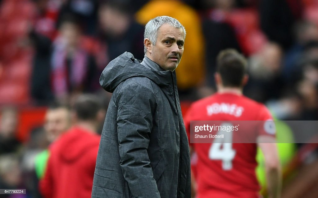 Jose Mourinho, Manager of Manchester United looks on after the Premier League match between Manchester United and AFC Bournemouth at Old Trafford on March 4, 2017 in Manchester, England.