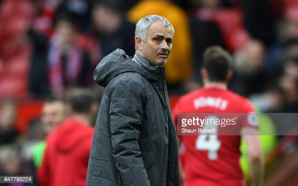 Jose Mourinho Manager of Manchester United looks on after the Premier League match between Manchester United and AFC Bournemouth at Old Trafford on...