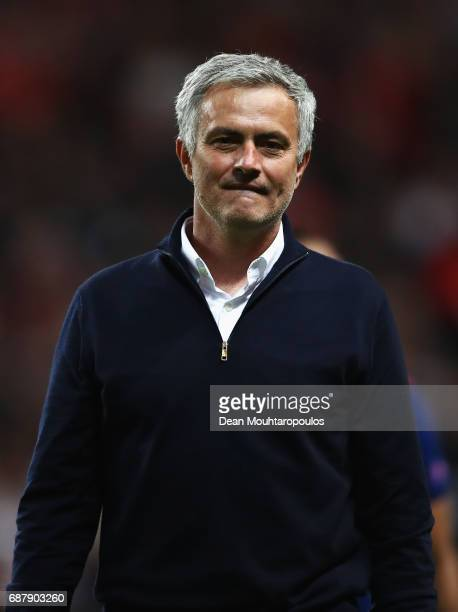 Jose Mourinho Manager of Manchester United looks on after the UEFA Europa League Final between Ajax and Manchester United at Friends Arena on May 24...