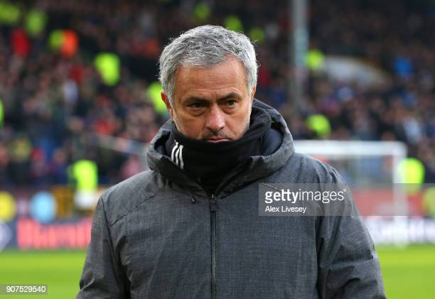Jose Mourinho Manager of Manchester United looks on ahead of the Premier League match between Burnley and Manchester United at Turf Moor on January...