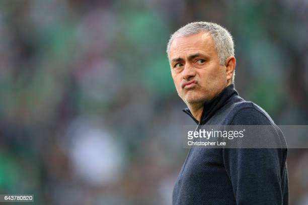 Jose Mourinho manager of Manchester United looks on before the UEFA Europa League Round of 32 second leg match between AS SaintEtienne and Manchester...