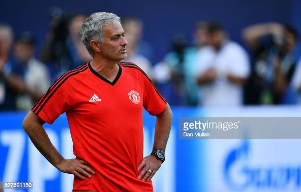 Jose Mourinho Manager of Manchester United looks on during a training session ahead of the UEFA Super Cup at the National Arena Filip II Macedonian...