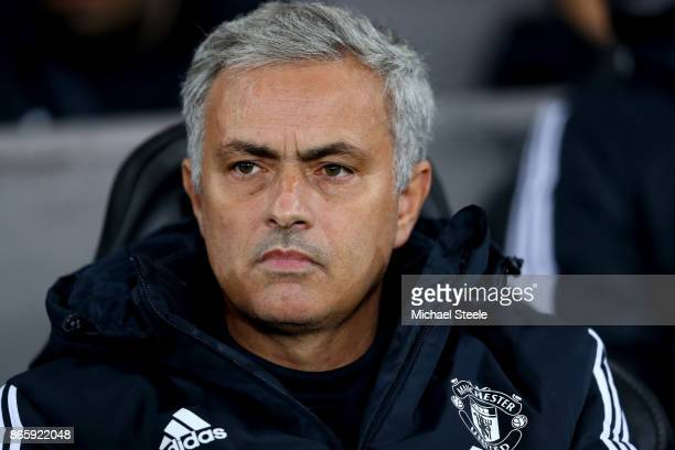 Jose Mourinho Manager of Manchester United looks on during the Carabao Cup Fourth Round match between Swansea City and Manchester United at Liberty...