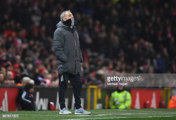 Jose Mourinho Manager of Manchester United looks on during the Emirates FA Cup Third Round match between Manchester United and Derby County at Old...