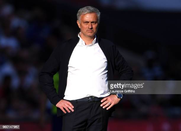 Jose Mourinho Manager of Manchester United looks on during The Emirates FA Cup Final between Chelsea and Manchester United at Wembley Stadium on May...