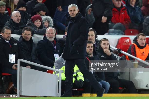Jose Mourinho Manager of Manchester United looks on during the Premier League match between Liverpool FC and Manchester United at Anfield on December...