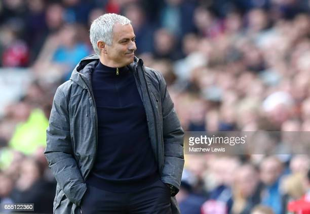 Jose Mourinho Manager of Manchester United looks on during the Premier League match between Middlesbrough and Manchester United at Riverside Stadium...