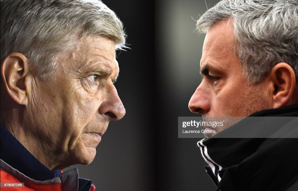 IMAGES - Image numbers (L) 609115656 and 632284824) In this composite image a comparision has been made between Arsene Wenger, Manager of Arsenal (L) and Jose Mourinho, Manager of Manchester United. Arsenal and Manchester United meet in a Premier League match at the Emirates Stadium on December 2, 2017 in London,England. STOKE ON TRENT, ENGLAND - JANUARY 21: Jose Mourinho, Manager of Manchester United looks on during the Premier League match between Stoke City and Manchester United at Bet365 Stadium on January 21, 2017 in Stoke on Trent, England.