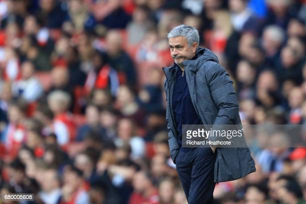Jose Mourinho Manager of Manchester United looks on during the Premier League match between Arsenal and Manchester United at the Emirates Stadium on...