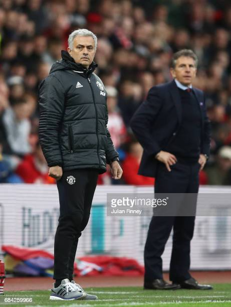 Jose Mourinho Manager of Manchester United looks on during the Premier League match between Southampton and Manchester United at St Mary's Stadium on...